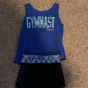 Girls Gymnast Tank and Shorts